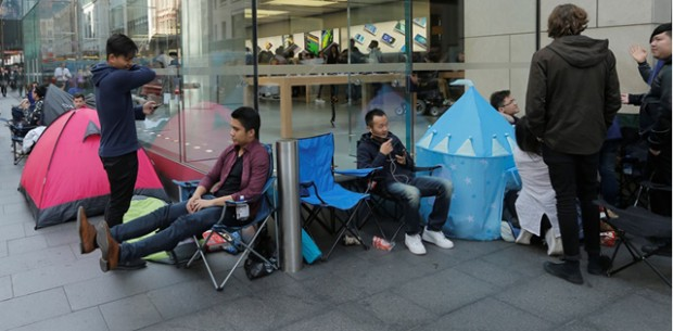 Buyers of new Apple products including the iPhone 7 to be released on September 16 camp outside the company's flagship Australian store in Sydney
